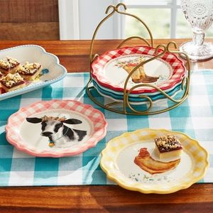 🌺 New Pioneer Woman Novelty Gingham Plates